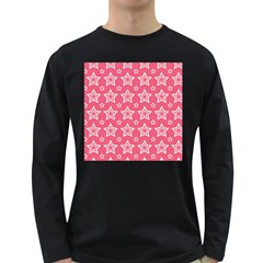 Star Pink White Line Space Long Sleeve Dark T Shirts