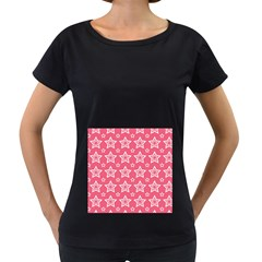 Star Pink White Line Space Women s Loose Fit T Shirt (black)
