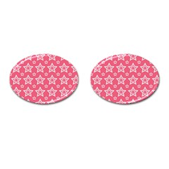 Star Pink White Line Space Cufflinks (Oval)