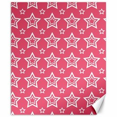 Star Pink White Line Space Canvas 8  x 10