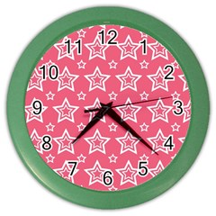 Star Pink White Line Space Color Wall Clocks