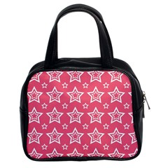 Star Pink White Line Space Classic Handbags (2 Sides)