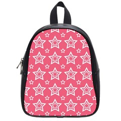 Star Pink White Line Space School Bags (Small)