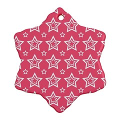 Star Pink White Line Space Snowflake Ornament (Two Sides)