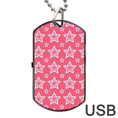 Star Pink White Line Space Dog Tag USB Flash (Two Sides)
