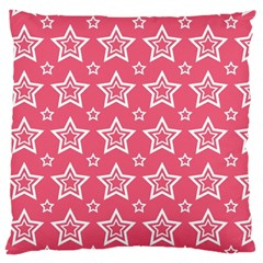 Star Pink White Line Space Large Cushion Case (Two Sides)
