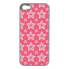 Star Pink White Line Space Apple iPhone 5 Case (Silver)
