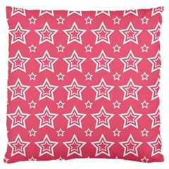 Star Pink White Line Space Large Flano Cushion Case (One Side)