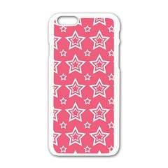 Star Pink White Line Space Apple iPhone 6/6S White Enamel Case