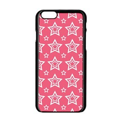 Star Pink White Line Space Apple iPhone 6/6S Black Enamel Case