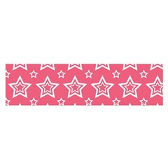 Star Pink White Line Space Satin Scarf (Oblong)