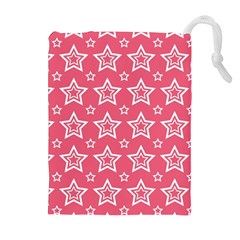 Star Pink White Line Space Drawstring Pouches (Extra Large)