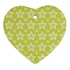 Star Yellow White Line Space Ornament (Heart)
