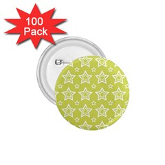 Star Yellow White Line Space 1.75  Buttons (100 pack)