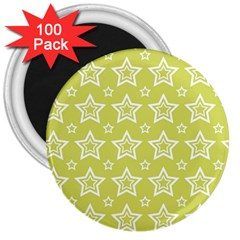 Star Yellow White Line Space 3  Magnets (100 pack)