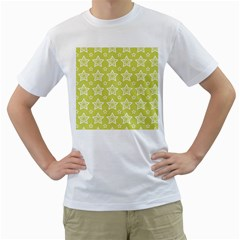 Star Yellow White Line Space Men s T-Shirt (White) (Two Sided)