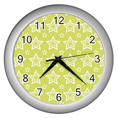 Star Yellow White Line Space Wall Clocks (Silver)