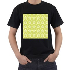 Star Yellow White Line Space Men s T-Shirt (Black) (Two Sided)