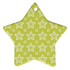 Star Yellow White Line Space Star Ornament (Two Sides)