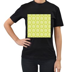 Star Yellow White Line Space Women s T-Shirt (Black)