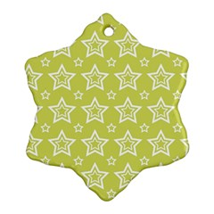Star Yellow White Line Space Snowflake Ornament (Two Sides)