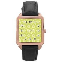 Star Yellow White Line Space Rose Gold Leather Watch