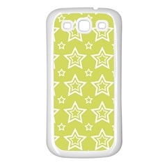 Star Yellow White Line Space Samsung Galaxy S3 Back Case (White)