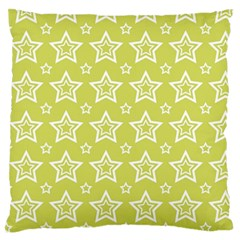 Star Yellow White Line Space Standard Flano Cushion Case (One Side)