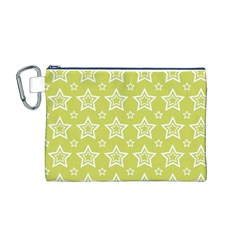 Star Yellow White Line Space Canvas Cosmetic Bag (M)