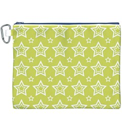 Star Yellow White Line Space Canvas Cosmetic Bag (XXXL)