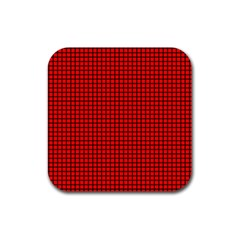 Red And Black Rubber Square Coaster (4 pack)