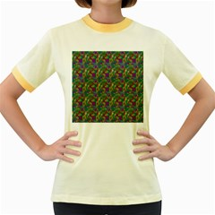 Pattern Abstract Paisley Swirls Women s Fitted Ringer T-Shirts
