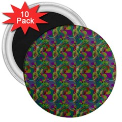 Pattern Abstract Paisley Swirls 3  Magnets (10 pack)