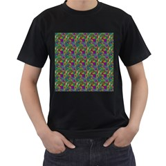 Pattern Abstract Paisley Swirls Men s T-Shirt (Black) (Two Sided)