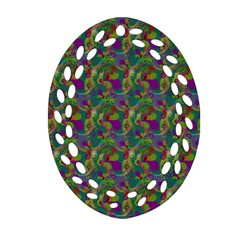 Pattern Abstract Paisley Swirls Oval Filigree Ornament (Two Sides)