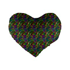 Pattern Abstract Paisley Swirls Standard 16  Premium Heart Shape Cushions
