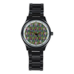 Pattern Abstract Paisley Swirls Stainless Steel Round Watch