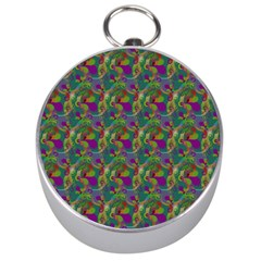 Pattern Abstract Paisley Swirls Silver Compasses