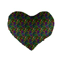 Pattern Abstract Paisley Swirls Standard 16  Premium Flano Heart Shape Cushions