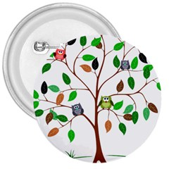 Tree Root Leaves Owls Green Brown 3  Buttons