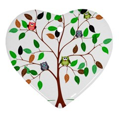 Tree Root Leaves Owls Green Brown Ornament (Heart)