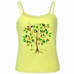 Tree Root Leaves Owls Green Brown Yellow Spaghetti Tank