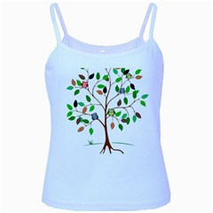 Tree Root Leaves Owls Green Brown Baby Blue Spaghetti Tank