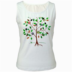 Tree Root Leaves Owls Green Brown Women s White Tank Top