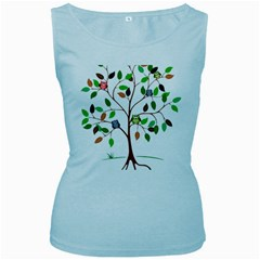 Tree Root Leaves Owls Green Brown Women s Baby Blue Tank Top