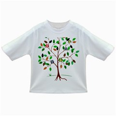 Tree Root Leaves Owls Green Brown Infant/Toddler T-Shirts