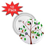 Tree Root Leaves Owls Green Brown 1 75  Buttons (10 Pack)