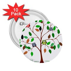 Tree Root Leaves Owls Green Brown 2.25  Buttons (10 pack)