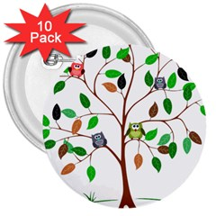 Tree Root Leaves Owls Green Brown 3  Buttons (10 Pack)