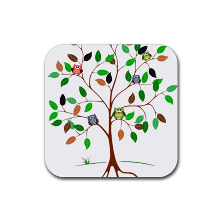 Tree Root Leaves Owls Green Brown Rubber Square Coaster (4 pack)